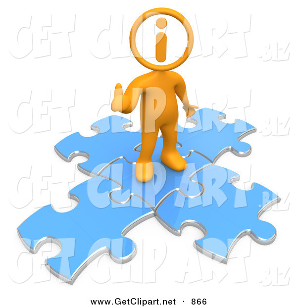 3d Clip Art of a Helpful Orange Man with an I Inside His Circle Head, Standing on Top of Blue Puzzle Pieces, Symbolizing Information and Technical Support