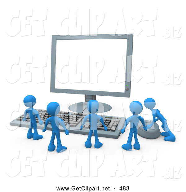 3d Clip Art of a Large Computer Keyboard and Looking up at a Flat Screen Lcd Monitor Screen While One Person Operates the Mouse