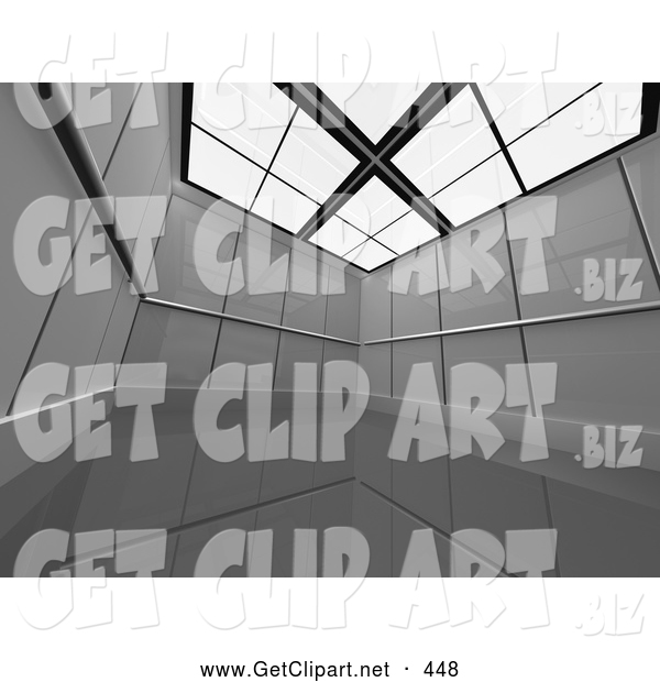 3d Clip Art of a Large, Empty and Open Futuristic Office Cubicle Suite