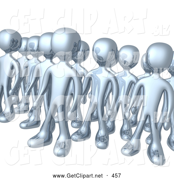 3d Clip Art of a Large Group of Silver Men Standing Proud in Rows