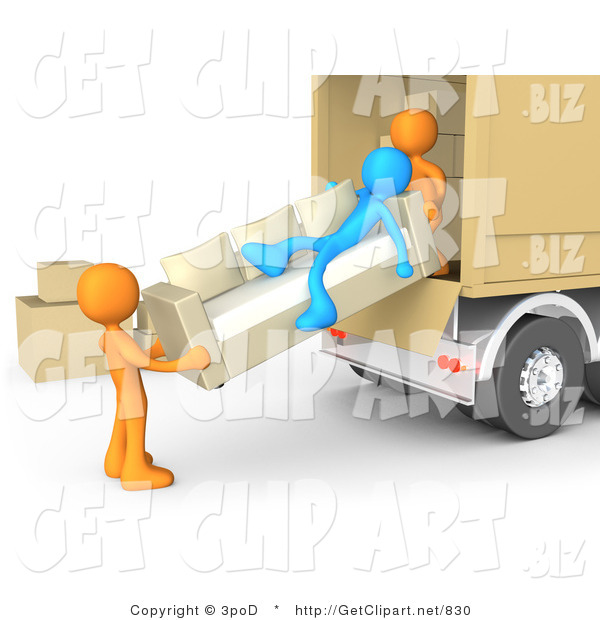 3d Clip Art of a Lazy Blue Man Laying on a Couch While Two Orange Men Load Furniture on a Moving Truck