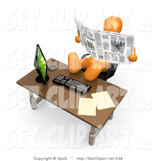 3d Clip Art of a Lazy Orange Employee or Manager Slacking While Leaning Back in Their Chair with Their Feet up on a Computer Desk, and Reading the News Instead of Working