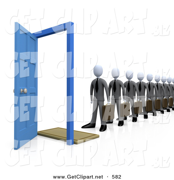 3d Clip Art of a Line of Businessmen Carrying Briefcases, Standing in Front of an Open Blue Door, Symbolizing Job Applicants or Great Job Opportunities and Advancement on White