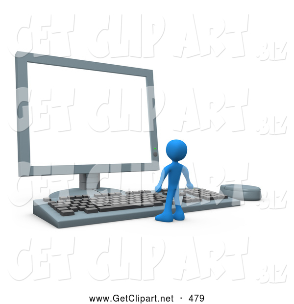 3d Clip Art of a Little Blue Man Facing a Giant Computer Keyboard and Looking up at a Flat Screen Lcd Monitor Screen