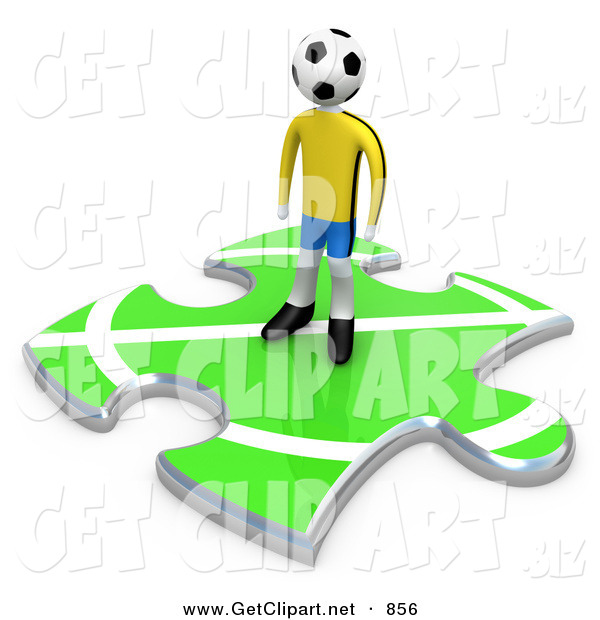 3d Clip Art of a Lone Soccer Player Man with a Ball As a Head, Standing on a Green Puzzle Piece with Part of a Field, Symbolizing Only Part of a Team