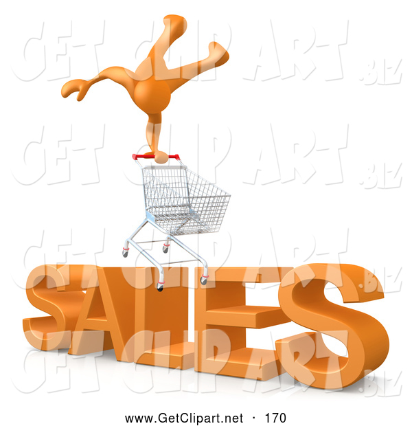 "3d Clip Art of a Man Balancing on a Shopping Cart over Big Orange Text Reading ""SALES"""