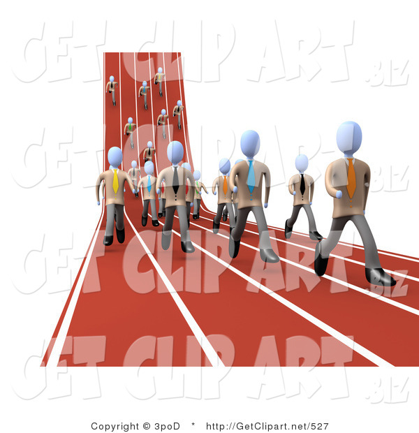 3d Clip Art of a Mass of Competitive Businessmen Running Downhill and Forward on Lanes of a Track While Racing for a Job Opportunity