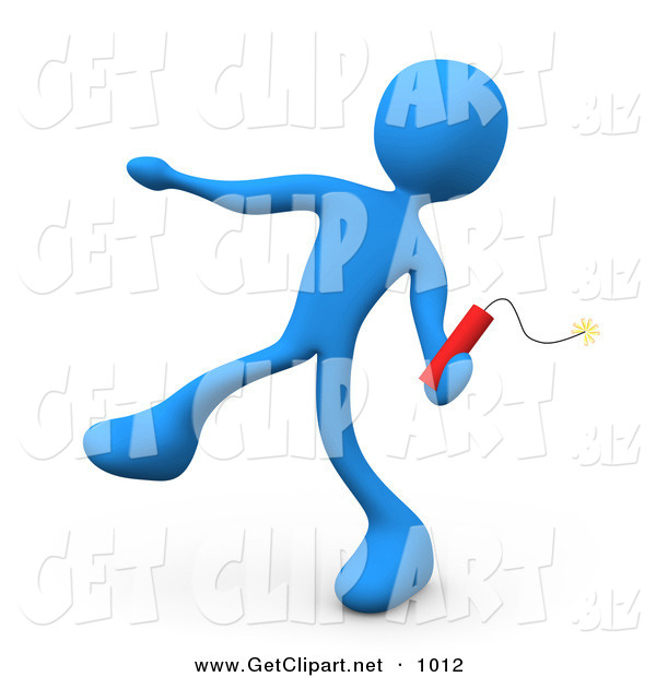 3d Clip Art of a Mean Blue Man Throwing an Ignited Stick of Red Tnt Dynamite