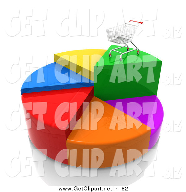 3d Clip Art of a Metal Shopping Cart on Top of the Highest Piece of a Colorful Pie Chart