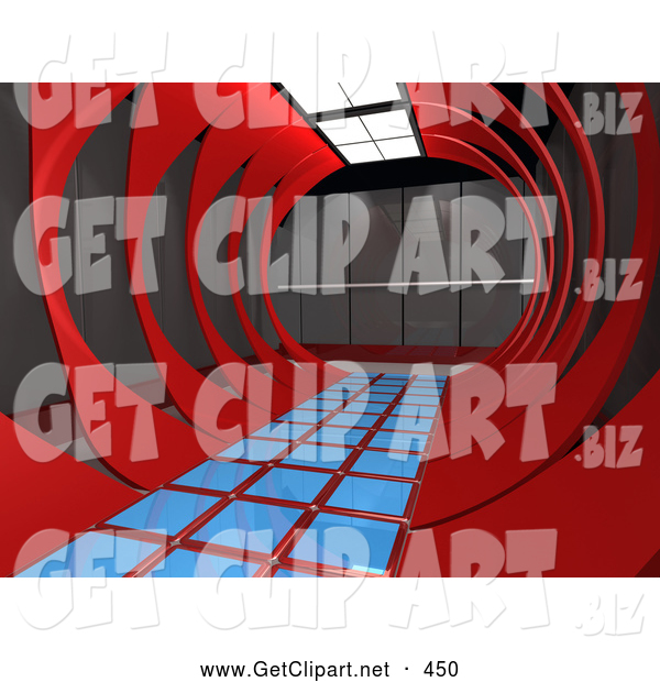 3d Clip Art of a Modern Hallway Inside an Office Interior