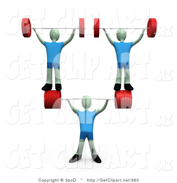 3d Clip Art of a Muscular Man Lifting Heavy Barbell Weights and Two Other Weightlifters over His Head in a Fitness Gym