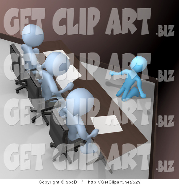 3d Clip Art of a Nervous and Scared Blue Employee Person Kneeling and Begging While Being Reviewed or Intereviewed by a Panel of Judges or Bosses