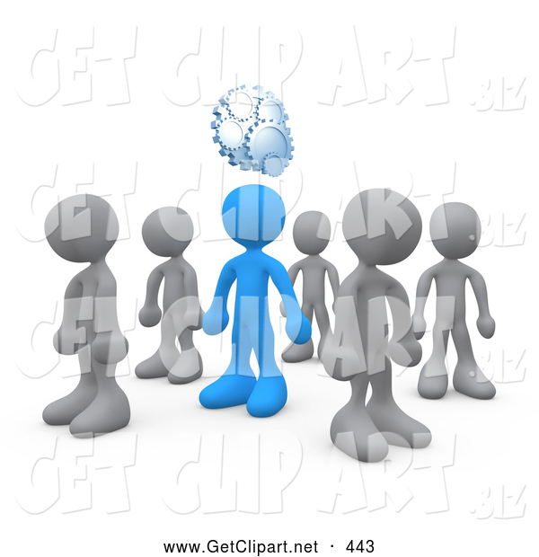 3d Clip Art of a One Independent Blue Person in a Group of Gray People, Thinking up a Creative Idea, with Gears over His Head