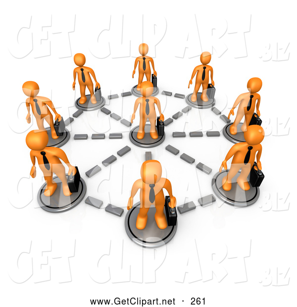 3d Clip Art of a Orange Business Men in a Network Circle