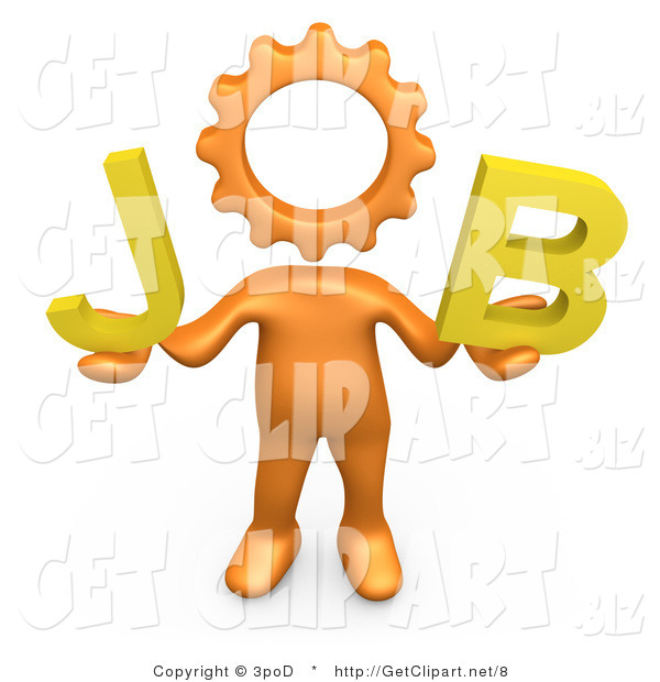 3d Clip Art of a Orange Cog Headed Person Holding up Letters That Spell out Job