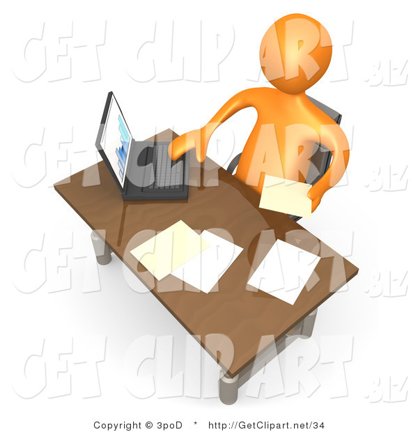 3d Clip Art of a Orange Employee Man Seated at a Wooden Desk and Using a Laptop While Doing Paperwork at the Office
