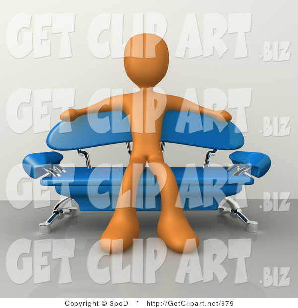 3d Clip Art of a Orange Male Figure Sitting with His Arms out on the Back of a Modern Blue Couch with Chrome Supports in a Living Room or Waiting in an Office Lobby