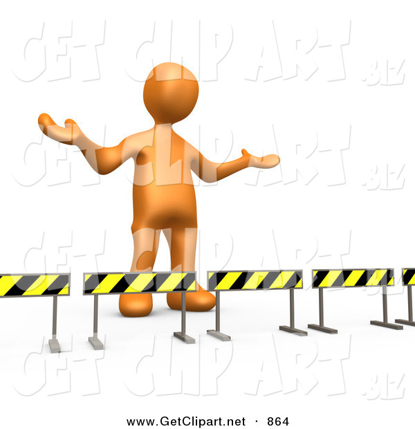 3d Clip Art of a Orange Man Stuck Behind Caution Signs, Not Sure Where to Go on White