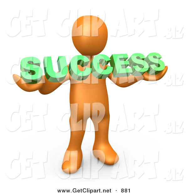 3d Clip Art of a Orange Person Holding a Green Success Sign on White