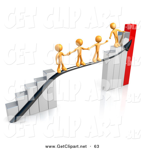 3d Clip Art of a Orange Person Standing on an Ascending Silver and Red Bar Graph Chart, Reaching Back to Assist Others up to the Top