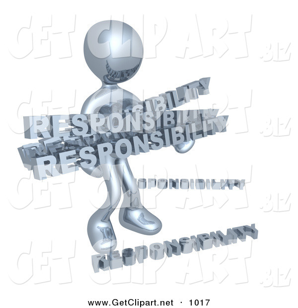 3d Clip Art of a Overwhelmed Dependable Chrome Person Carrying a Heavy and Large Load of Responsiblities