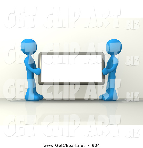 3d Clip Art of a Pair of Blue Figures Holding up a Blank Sign Ready for an Advertisment