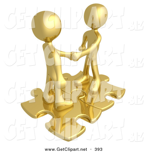 3d Clip Art of a Pair of Gold People Shaking Hands While Standing on Connected Gold Puzzle Pieces, Symbolizing Teamwork, Deals, and Link Exchanges for Seo Website Marketing