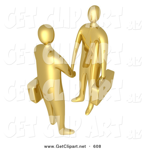 3d Clip Art of a Pair of Golden Businessmen with Briefcases Shaking Hands upon Agreement of a Business Deal