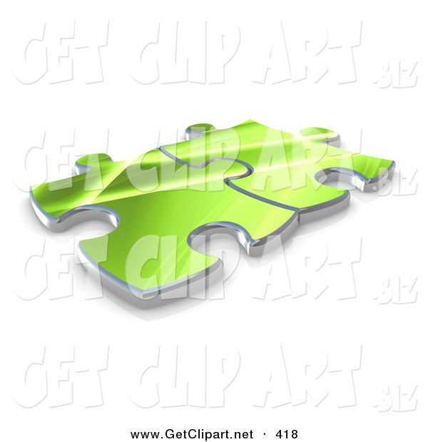 3d Clip Art of a Pair of Green Puzzle Pieces Connected over a White Background, Symbolizing Interlinking for Seo Website Marketing, and Teamwork