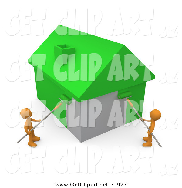 3d Clip Art of a Pair of Orange Men Using Roller Brushes to Paint a Home Green, Symbolizing Upgrading a Home to Be More Energy Efficient