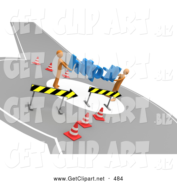 3d Clip Art of a Pair of Orange People Carrying Http:// Through a Construction Zone, Symbolizing a Redirect or Detour