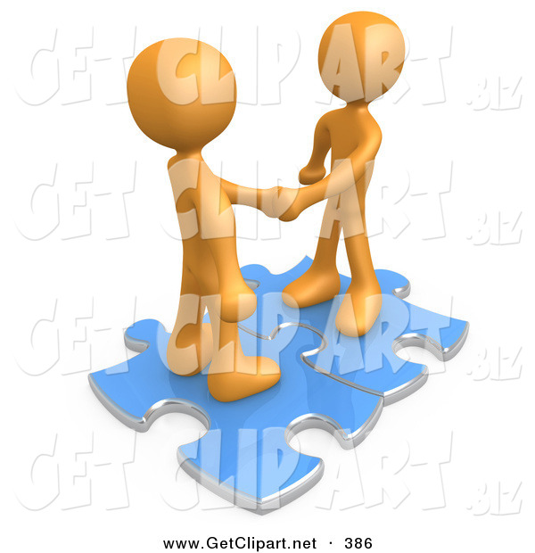 3d Clip Art of a Pair of Orange People Shaking Hands While Standing on Connected Blue Puzzle Pieces, Symbolizing Teamwork, Deals, and Link Exchanges for Seo Website Marketing on White