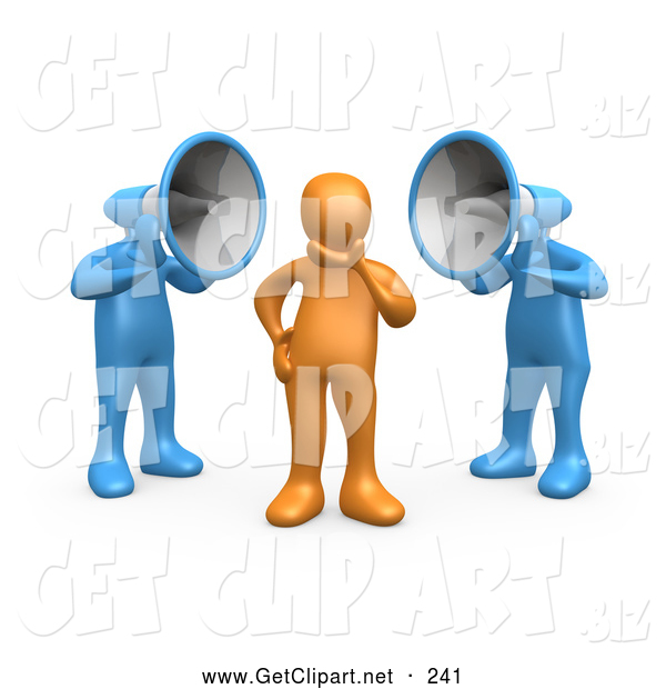 3d Clip Art of a Pair of Two Blue Megaphone Headed People Shouting at an Orange Person, Trying to Influence His Beliefs