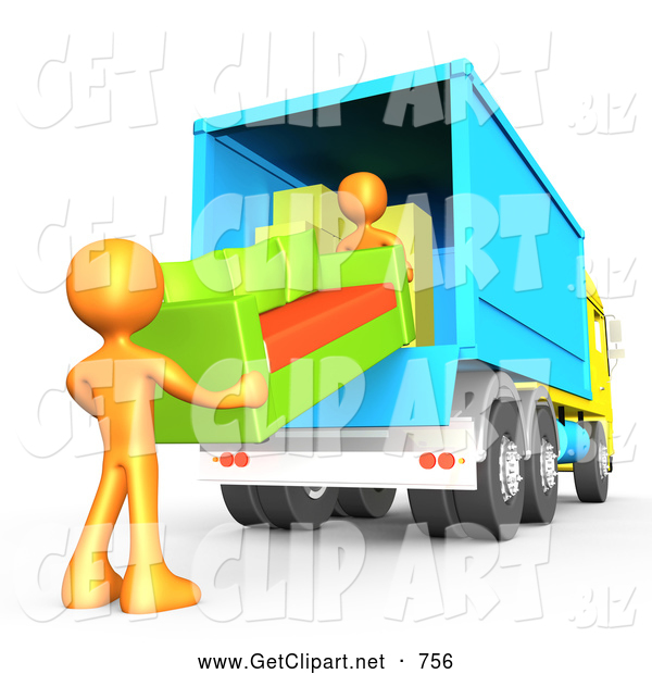 3d Clip Art of a Pair of Two Orange Male Figures Lifting and Loading a Green and Orange Living Room Couch into a Blue Moving Truck, Symbolizing Teamwork