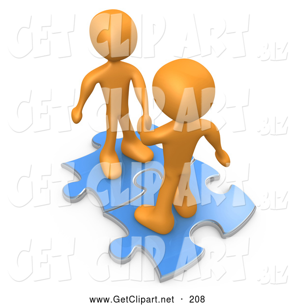 3d Clip Art of a Pair of Two Orange People on Blue Puzzle Pieces, Engaging in a Handshake upon a Deal, Symbolizing Link Exchange and Teamwork