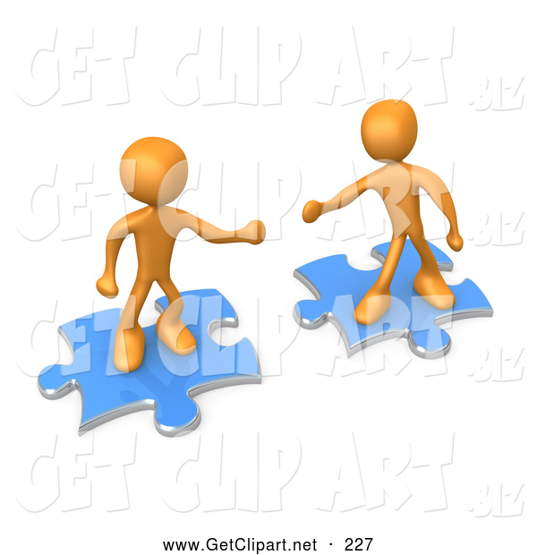 3d Clip Art of a Pair of Two Orange People on Blue Puzzle Pieces, Reaching out for Eachother to Connect, Symbolizing a Connection