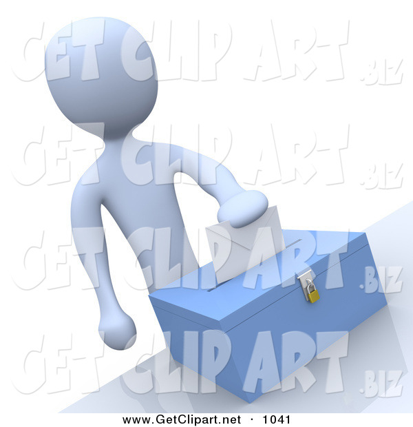 3d Clip Art of a Pale Blue Man Putting Their Voting Envelope in a Ballot Box During a Presidential Election