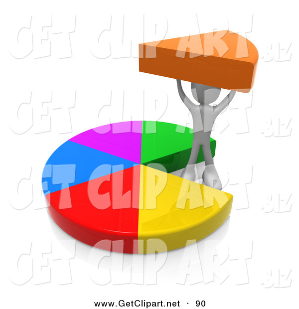 3d Clip Art of a Person Proudly Holding up Their Share of a Pie Chart