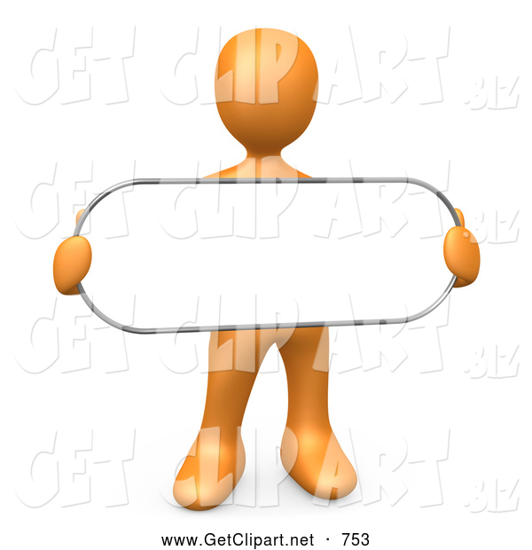 3d Clip Art of a Plain Orange Person Holding a Blank White Oval Sign
