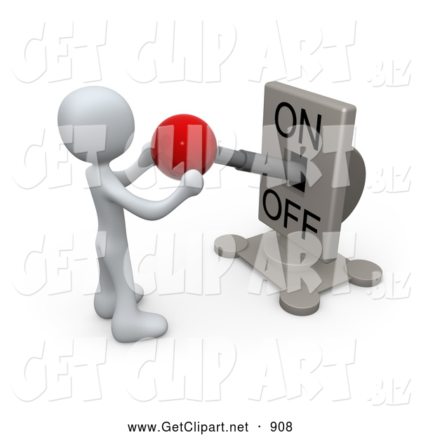 3d Clip Art of a Pondering Man Watching a Switch Plate and Holding the Red Knob, Preparing to Turn It off