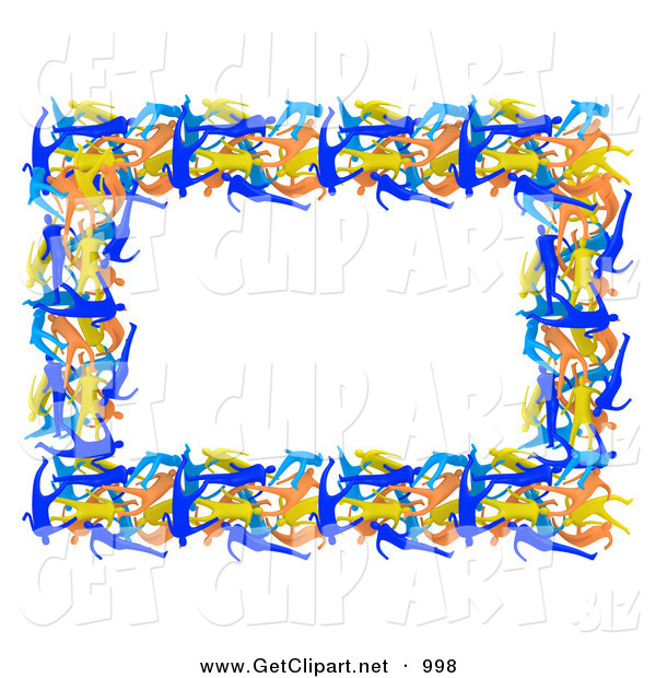 3d Clip Art of a Pretty Border of Colorful People Forming a Frame Around a White Background