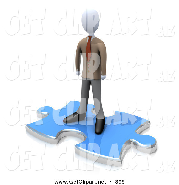 3d Clip Art of a Professional Business Person Standing on Top of a Blue Puzzle Piece, Symbolizing the Missing Piece to a Puzzle, Someone Coming in to Solve Problems, Etc
