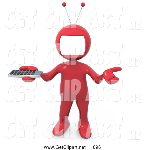 3d Clip Art of a Red Man with a Tv Monitor As a Head, Shrugging and Holding a Television Remote Control