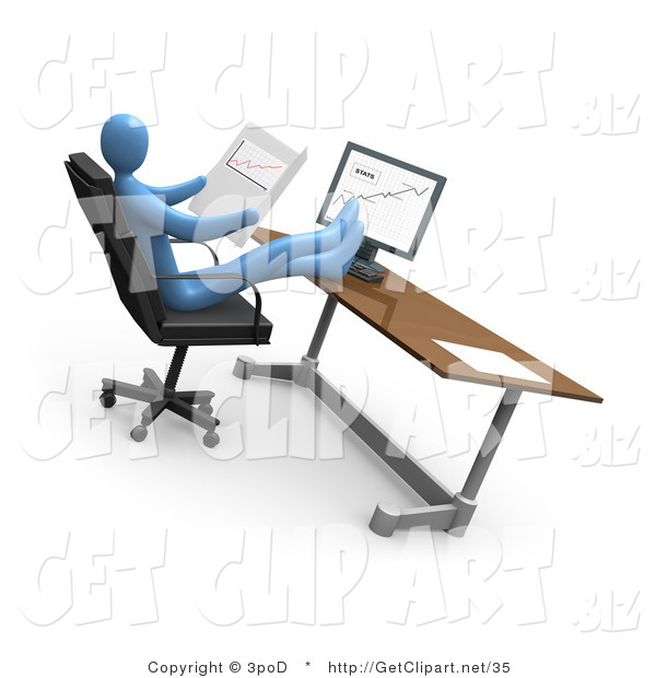 3d Clip Art of a Relaxed Blue Business Person Leaning Back in a Chair in Front of a Computer in an Office, His Feet Crossed and up on the Desk While Comparing Graphs Showing an Increase in Sales, on Paper and on the Computer