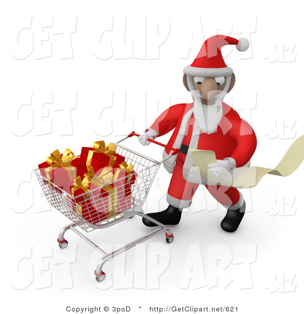 3d Clip Art of a Santa Claus Man Reading a Very Long List and Purchasing Christmas Presents While Pushing a Shopping Cart in a Store