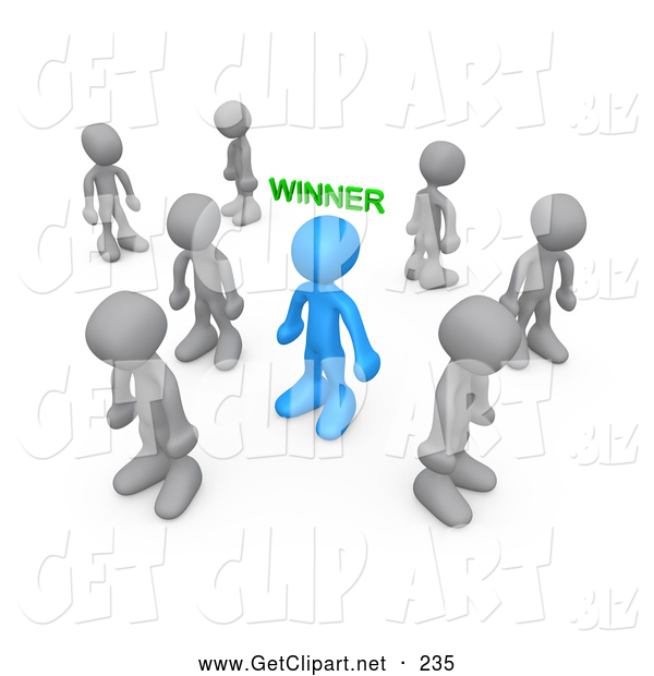 3d Clip Art of a Selected Blue Person with the Word Winner over Their Head, Surrounded by Sad Losers