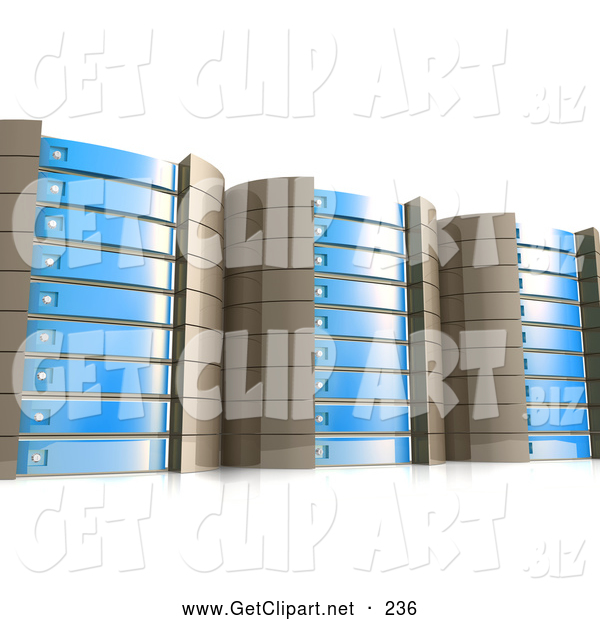 3d Clip Art of a Set of Tall Expensive Blue Server Racks Hosting Services to Customers