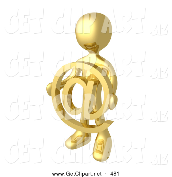 3d Clip Art of a Shiny Gold Person Holding a Golden at Symbol in Front of Him