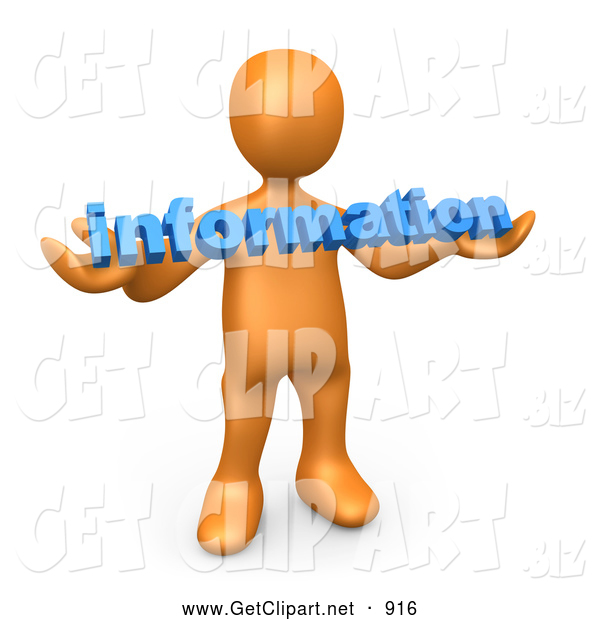 3d Clip Art of a Shiny Orange Person Carrying Blue Text Reading Information