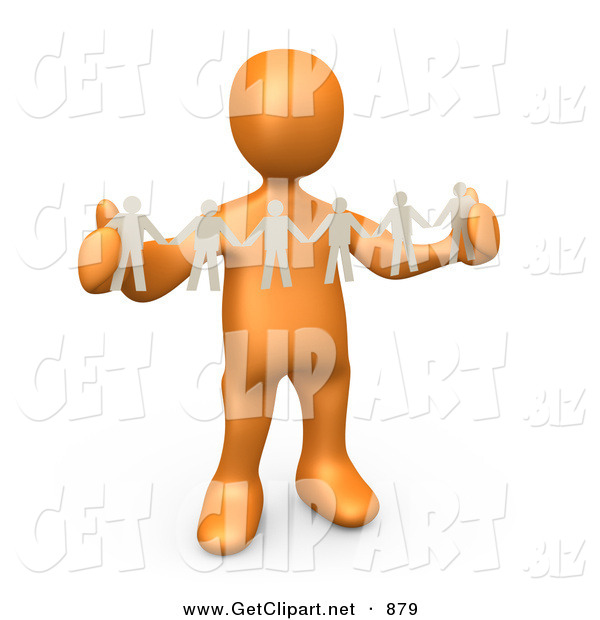 3d Clip Art of a Shiny Orange Person, Such As a Boss or Manager, Holding a Strand of Paper People, Symbolizing Control or Teamwork